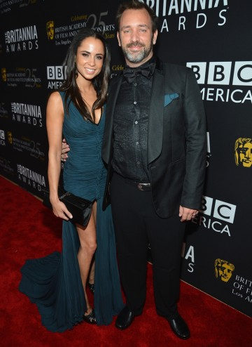 Trey Parker arrived with Boogie Tillmon to collect his Charlie Chaplin Britannia Award for Excellence in Comedy.