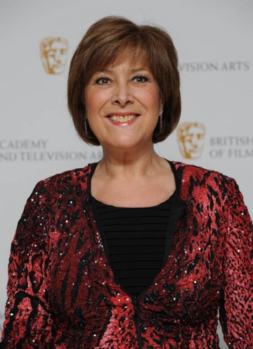 TV actress Lynda Bellingham arrives at the London hilton Hotel to present the Production Design category.