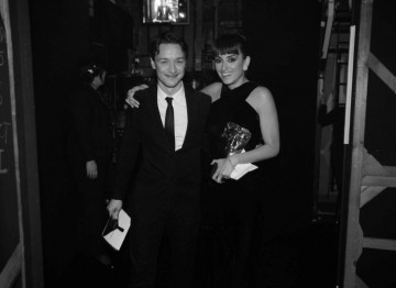 James McAvoy, star of Atonment, congratulates Penelope Cruz after presenting her with the Supporting Actress BAFTA for her role in Woody Allen's Vicky Cristina Barcelona  (Greg Williams / Art+Commerce).