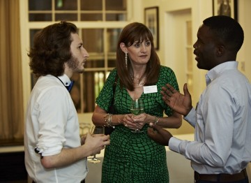 Scholars Sam Coleman and Folarin Sagaya talk with BAFTA's CEO Amanda Berry