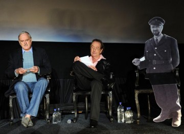 Eric Idle and John Cleese on stage at the Monty Python reunion event in New York on 15 October 2009 (© BAFTA)