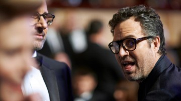 Mark Ruffalo and Steve Carell converse in the Auditorium of London's Royal Opera House.