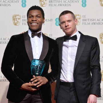 Winner of the EE Rising Star award: John Boyega with Jack O'Connell