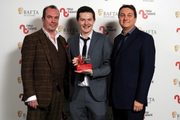 Daniel Cameron - Winner in the Acting Performance Male Category with presenters Gavin Mitchell & Michael Hines