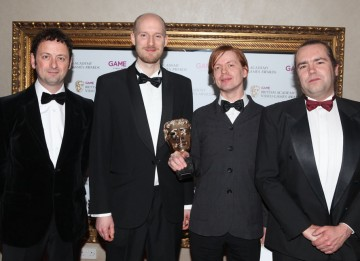Presenters Matt Allwright and Jon Hare with winners Stefan Strandberg and colleague, whose dramatic, powerful work won the Use of Audio trophy. (Pic: BAFTA/Steve Butler)