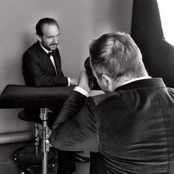 Leading Actor nominee Ralph Fiennes in the boutique photo area at London's Royal Opera House