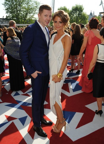 The Made in Chelsea star (wearing a Lanvin gown) and partner, rapper Professor Green (in an Alexander McQueen suit)