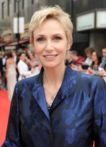 Jane Lynch, star of YouTube Audience Award nominee, Glee, arrives at the awards (BAFTA/Richard Kendal).