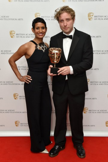 Presenter Naga Munchetty and winner James Bluemel wins the Director: Factual award for Exodus - Our Journey to Europe