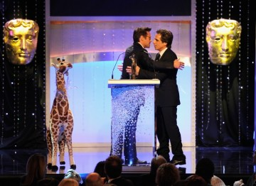 Robert Downey Jr presents Ben Stiller with his Britannia Award