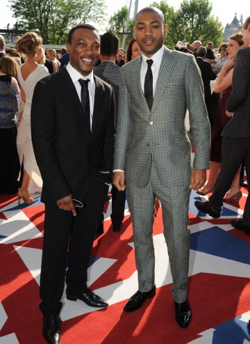 The stars of Channel 4's Top Boy, which is nominated for Mini Series. Ashley Walters wears a Dolce and Gabbana suit.