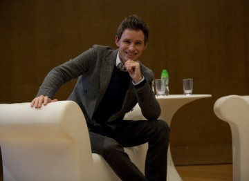 Eddie Redmayne before his masterclass at the Hong Kong Academy for Performing Arts