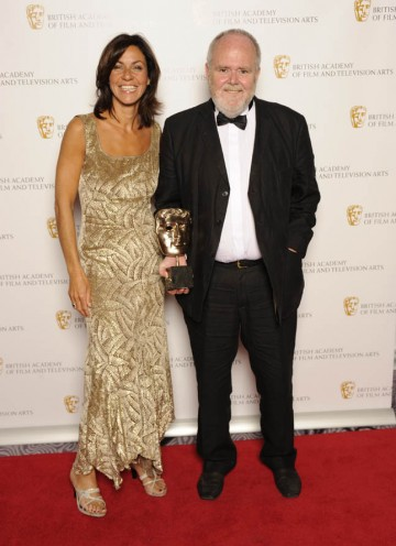 Kevin Sim, director of The Secret Life of The Berlin Wall, collects the award for Editing Factual from presenter Julia Bradbury on behalf of winner Gregor Lyon.