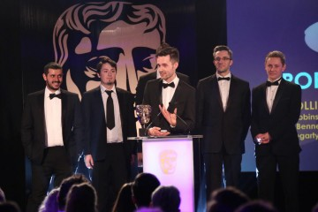 The OlliOlli team accept the award for Sport at the British Academy Games Awards Ceremony in 2015