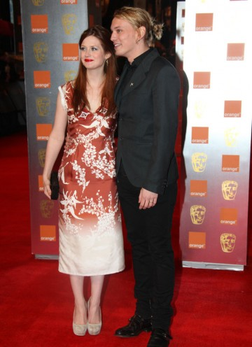 Wright and Campbell Bower, aka Ginny Weasley and Gellert Grindelwald from the Harry Potter films. Wright is wearing a Clements Ribeyro dress. (Pic: BAFTA/Stephen Butler)