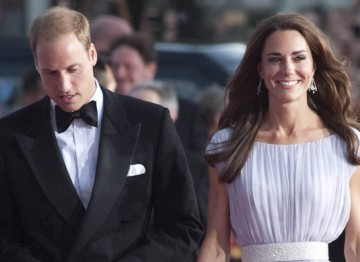 Academy President The Duke of Cambridge on the red carpet with his wife Catherine Middleton