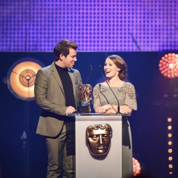 Jen Pringle and Derek Moran present the BAFTA for Learning - Primary at the British Academy Children's Awards in 2015