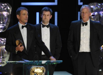 Bill Neely and Rob Bowles were among the News at Ten team who collected the News Coverage BAFTA for their reporting of the Chinese Earthquake (BAFTA / Marc Hoberman).