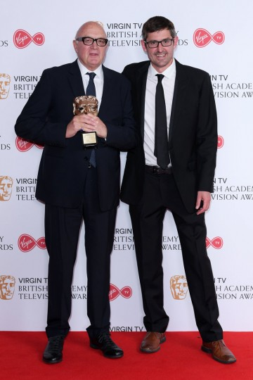 Nick Fraser poses with his Special Award, presented to him by Louis Theroux