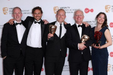Winners of Virgin TV Must-See Moment: Planet Earth II, Snakes vs Iguanas L-R - Justin Anderson, Fredi Devas, Tom Hugh-Jones, Mike Gunton and Elizabeth White