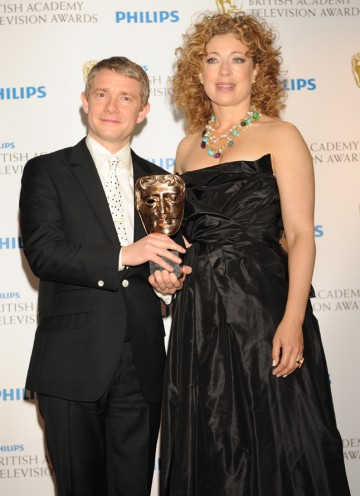 Alex Kingston presented Martin Freeman with the Supporting Actor BAFTA for his role as the loyal John H. Watson in BBC One's Sherlock, which also took the Drama Series prize. (Pic: BAFTA/Richard Kendal)