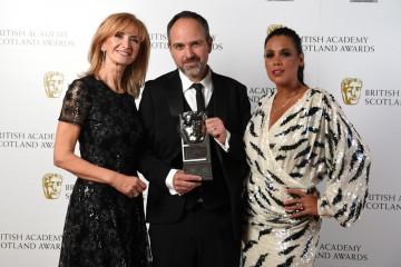 Matt Pinder with presenters Jackie Bird and Jean Johansson, Director Factual