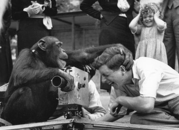 On the set of one of the films for 'Animal Kingdom', one of the very first films that Wolf was involved in, as assistant cameraman. Here assistant director Denis Segaller meets with one of the actors.