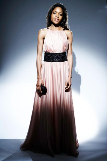 The Orange Rising Star nominee wore an elegant dusty pink Marchesa dress with a black sash belt. (pic: BAFTA/Ian Derry)