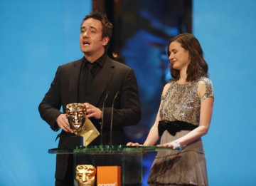 Frost/Nixon star Matthew Macfadyen teamed up with actress Emily Mortimer to present the BAFTAs for Production Design and Make Up & Hair (BAFTA / Marc Hoberman).