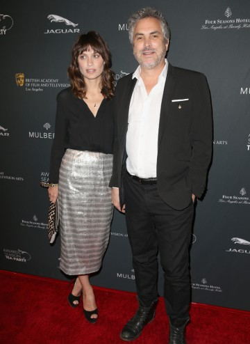 Director Alfonso Cuaron and  author Sheherazade Goldsmith arriving at the BAFTA LA 2014 Awards Season Tea Party.