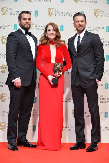 Henry Cavill and Chris Evans accompany Leading Actress Julianne Moore