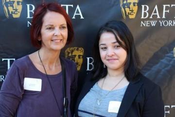 Jo Petheridge with a Brooklyn College scholarship recipient.