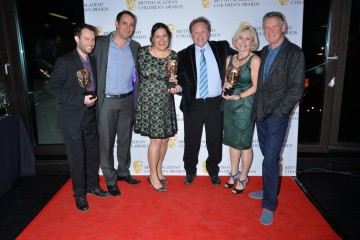 Giggle Bizz wins the Comedy category at the British Academy Children's Awards in 2015, presented by Michael Palin.