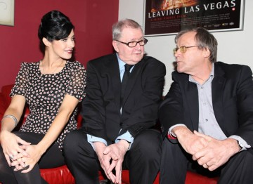 Kym Marsh with fellow cast member David Neilson who plays Roy Cropper, with writer Tony Warren. Pic: Steve Butler