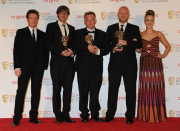 Presenters Toby Stephens and Miranda Raison with winners Tim Kirkey, Stewart Lee and Richard Webb.