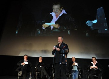 Director Tery Gilliam reads out audience questions at the Monty Python reunion event in New York on 15 October 2009 (© BAFTA)
