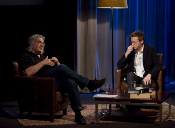 Paul Greengrass and Simon Mayo on stage.