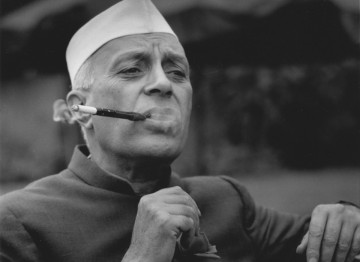 Jawaharlal Nehru being filmed for 'Wisdom' (1955), a TV series of interviews of famous people.