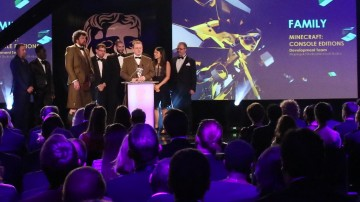 The Minecraft: Console Editions team accept the award for Family at the British Academy Games Awards in 2015