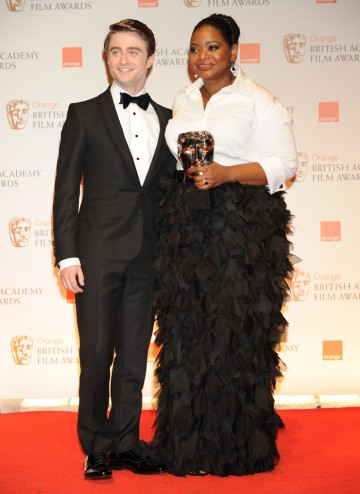 Presenter Daniel Radcliffe with the US actress who won for her memorable performance as Minny in The Help.