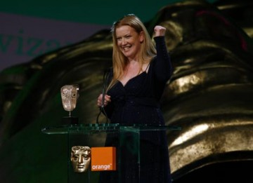 Andrea Arnold collects the Carl Foreman Award for her film Red Road (BAFTA / Brian Ritchie).