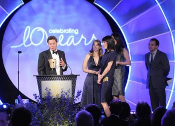 BBC Sport representatives Cara Speller, Jonathan Bramley and Rebekah Kipps collected a BAFTA for the titles to Olympics 2008 (BAFTA / Richard Kendal).