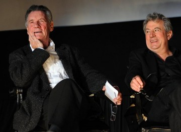 Michael Palin and Eric Idle on stage at the Monty Python reunion event in New York on 15 October 2009 (© BAFTA)