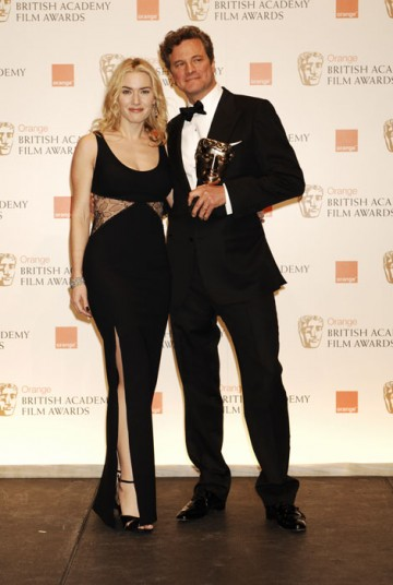 Winner of the Leading Actor Award, Colin Firth, celebrates with the Leading Actress Award winner in 2009, Kate Winslet (BAFTA/Richard Kendal).