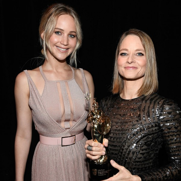Jodie Foster and Jennifer Lawrence backstage at the 2016 Britannia Awards