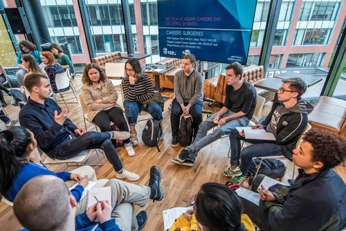 Event: BFI Film Academy Careers Day Delivered by BAFTADate: Saturday 18 May 2019Venue: HOME, 2 Tony Wilson Place, ManchesterSpeakers: Hannah Patterson, Cassandra Neal, Emma Nicholson, Dan Winch, Trace Taylor, Neil Bradley, Jack Benjamin Gil-