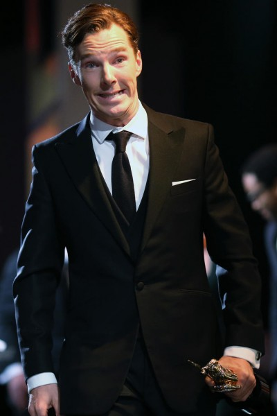 Actor Benedict Cumberbatch walks offstage after receiving the Britannia Award for British Artist of the Year