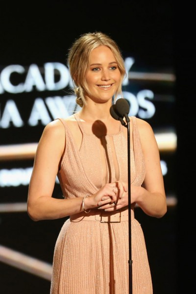 Jennifer Lawrence on stage at the 2016 Britannia Awards