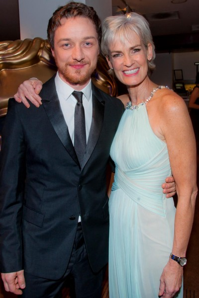 Actor James McAvoy with Awards night guest Judy Murray at the British Academy Scotland Awards in 2014.