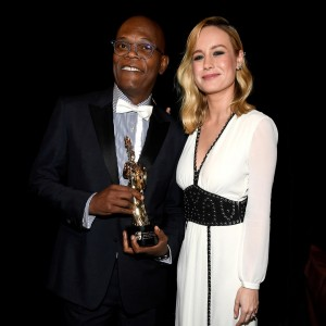 Brie Larson and Samuel L. Jackson backstage at the 2016 Britannia Awards